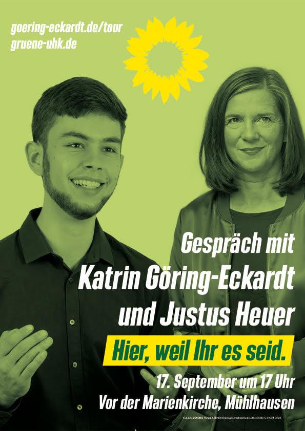 Katrin Göring-Eckardt und Justus Heuer zu Gast im Gespräch am 17.09. um 17 Uhr vor der Marienkirche in Mühlhausen